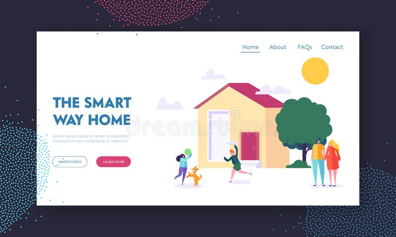 Smart Way Home Landing Page. Children Playing Ball Game with Dog. Married Couple near Residential House. Family Weekend stock illustration