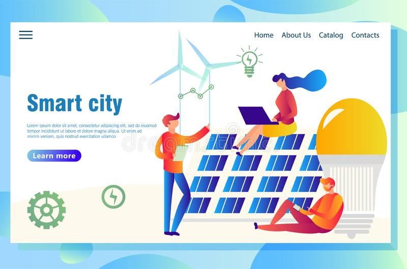 Smart webbsida för ecostadsbegrepp stock illustrationer