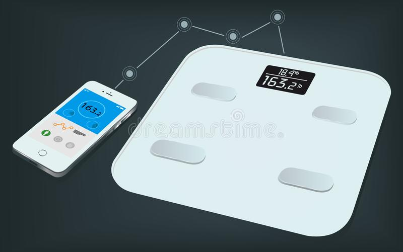 Smart weight scale and a smartphone with weight information on it`s display. Getting information of weight using mobile app. Smart body analyzer. Measuring royalty free illustration
