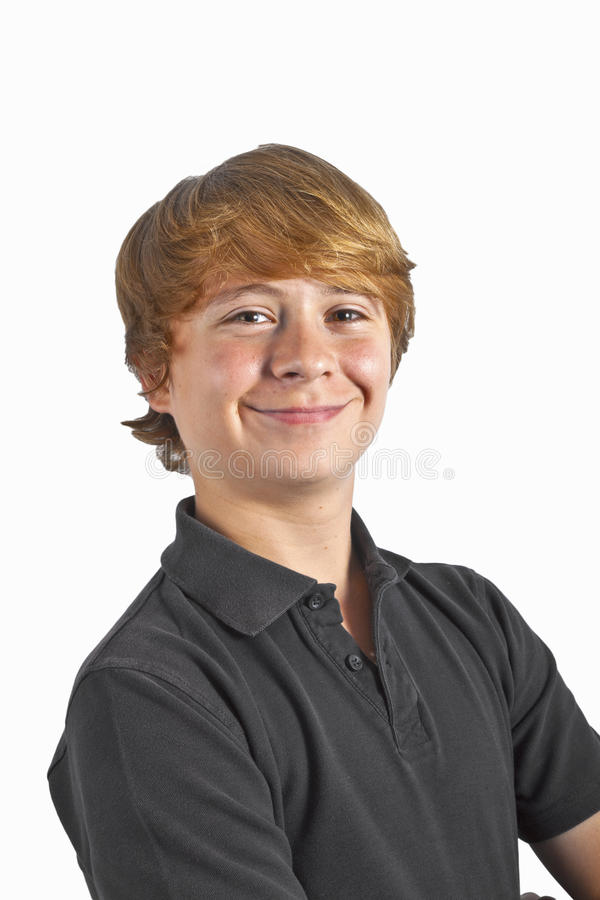 Smart weinig jongen die op wit glimlacht royalty-vrije stock afbeeldingen