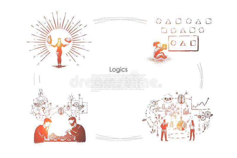 Smart woman holding brain and heart, child solving puzzle, men playing chess, system analysis, logic banner vector illustration