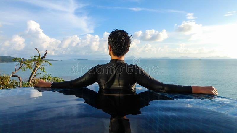 Smart woman looking wide vision panorama seascape stock photos
