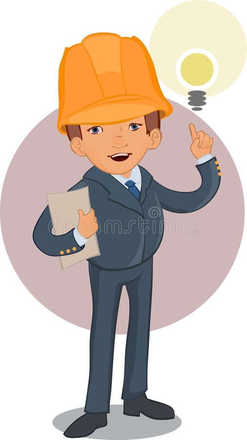 Smart worker cartoon character. Eps 10 vector illustration stock illustration