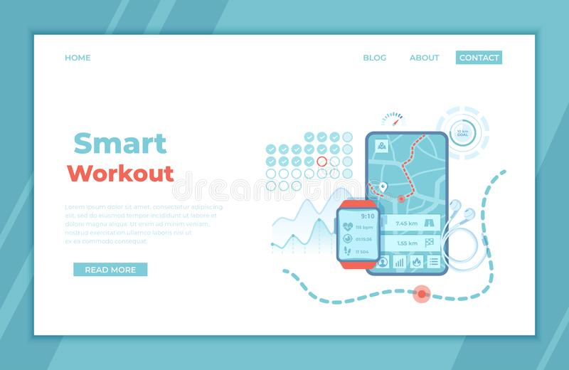 Smart Workout, Training, Fitness, Running, Sport. Fitness tracker app graphic user interface for smartwatch and mobile phone. vector illustration