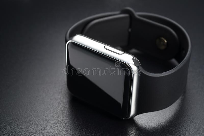 Smart wrist watches on black royalty free stock images