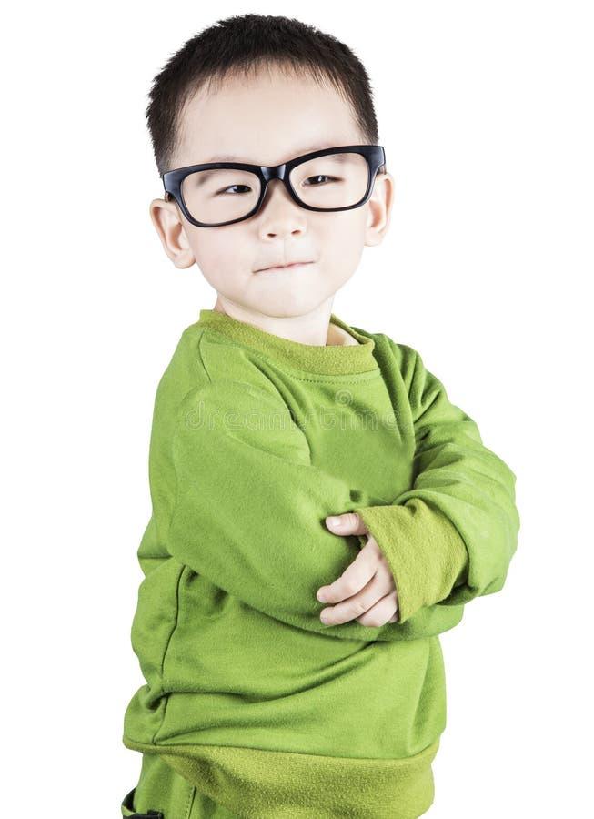 Smart y niño de la confianza que mira la cámara foto de archivo libre de regalías
