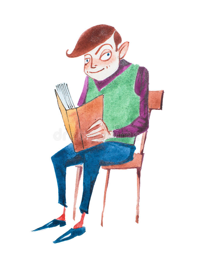 Smart young man reading a book sitting on a chair hand-drawn with aquarelle paints royalty free illustration