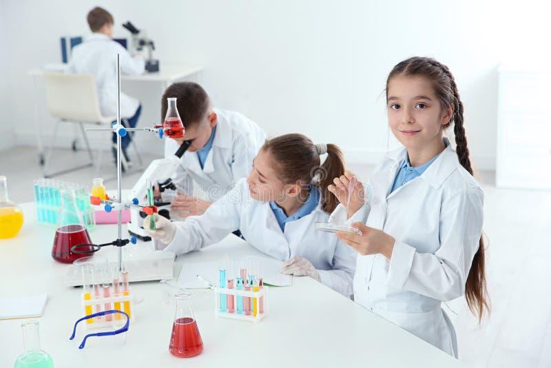 Smarta elever som gör experiment på tabellen i grupp royaltyfri bild