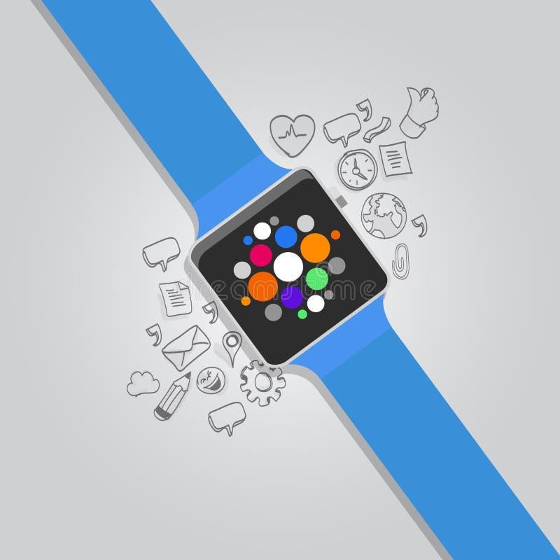 Smarta klockor för Wearable vektor med symbolen royaltyfri illustrationer