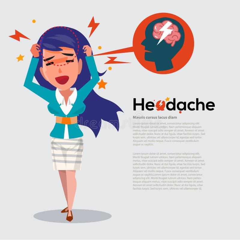 Smarta kvinnor får huvudvärk - sjukvård- och migränbegreppet - vec royaltyfri illustrationer
