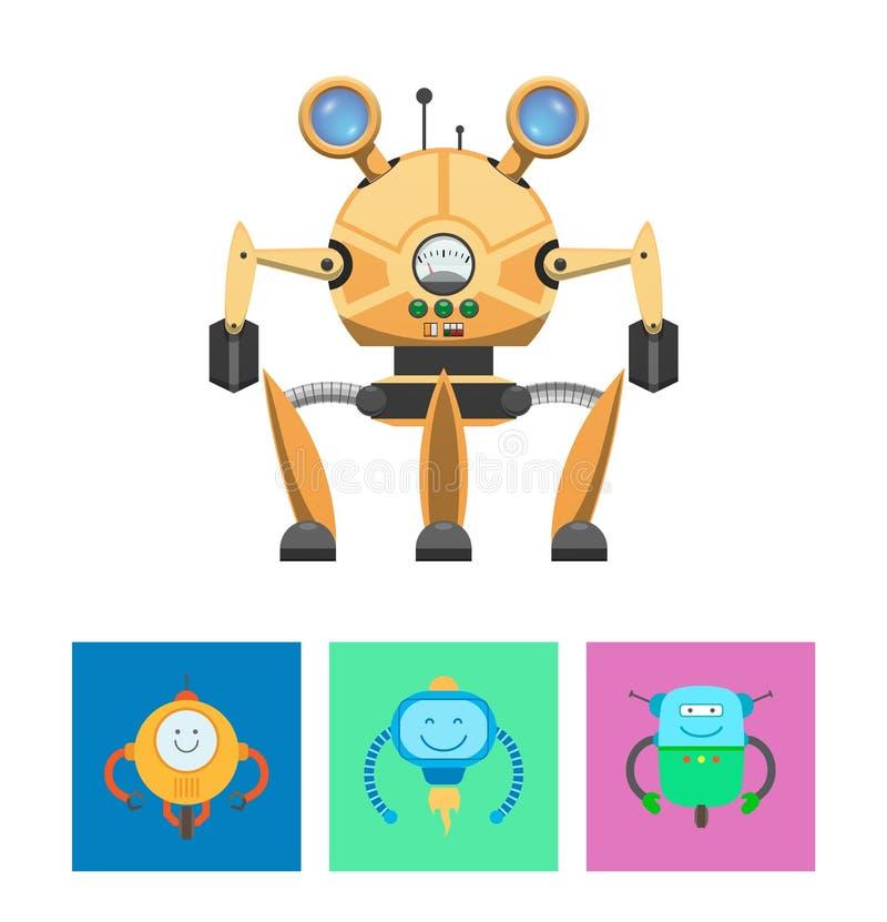 Smarta robotar och intellektvektorillustration royaltyfri illustrationer