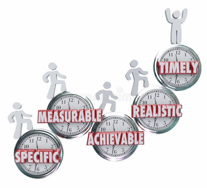 SMARTA specifika mätbara uppnåeliga realistiska mål i rätt tid Obje stock illustrationer