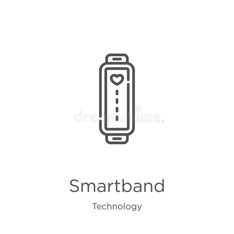 smartband διάνυσμα εικονιδίων από τη συλλογή τεχνολογίας Η λεπτή γραμμή smartband περιγράφει τη διανυσματική απεικόνιση εικονιδίω απεικόνιση αποθεμάτων