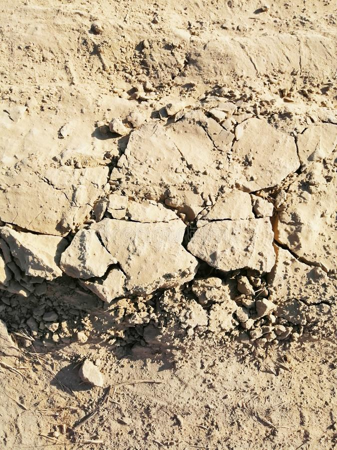 Texture of a clay dry road with cracks stock photography