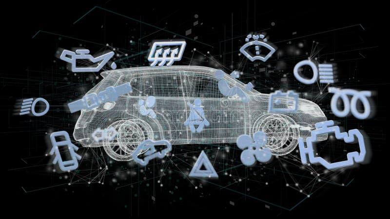 Smartcar-Ikone, um ein Automobil auf einer Wiedergabe des Hintergrundes 3d lizenzfreie abbildung
