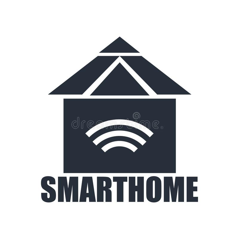Smarthome象在白色背景和标志隔绝的传染媒介标志,Smarthome商标概念 库存例证