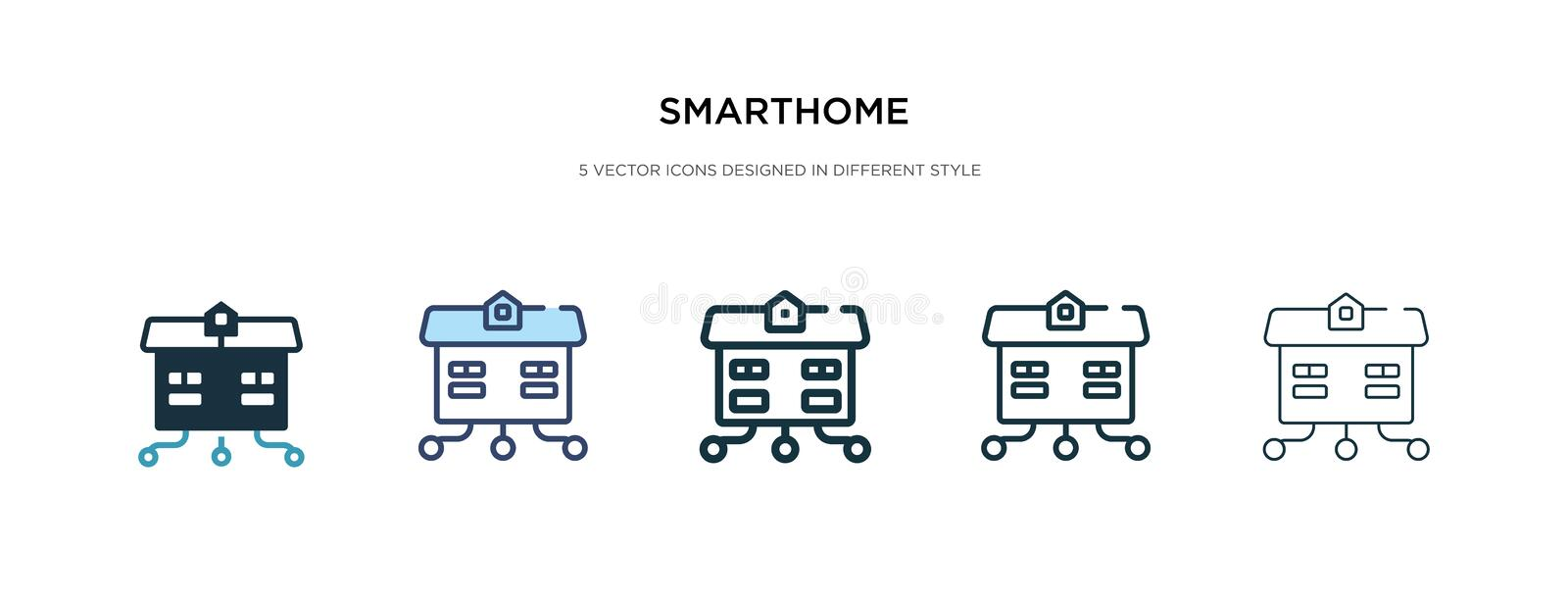 Smarthome icon in different style vector illustration. two colored and black smarthome vector icons designed in filled, outline, stock illustration
