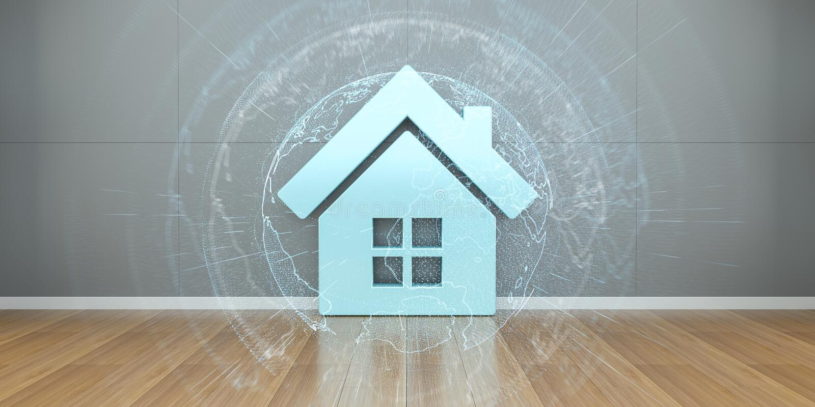 Smarthome icon in interior with connection 3D rendering royalty free illustration