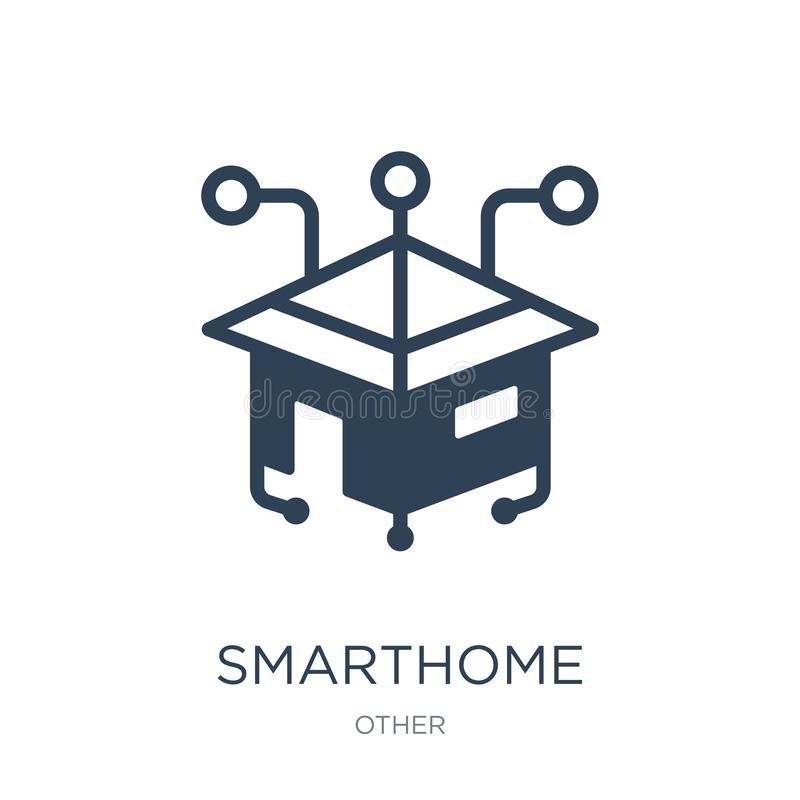smarthome pictogram in in ontwerpstijl smarthome pictogram op witte achtergrond wordt geïsoleerd die smarthome vectorpictogram ee royalty-vrije illustratie