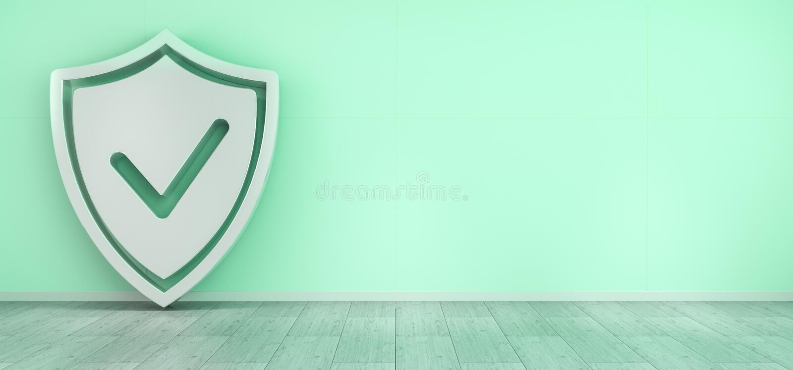 Smarthome shield security interface 3D rendering royalty free illustration