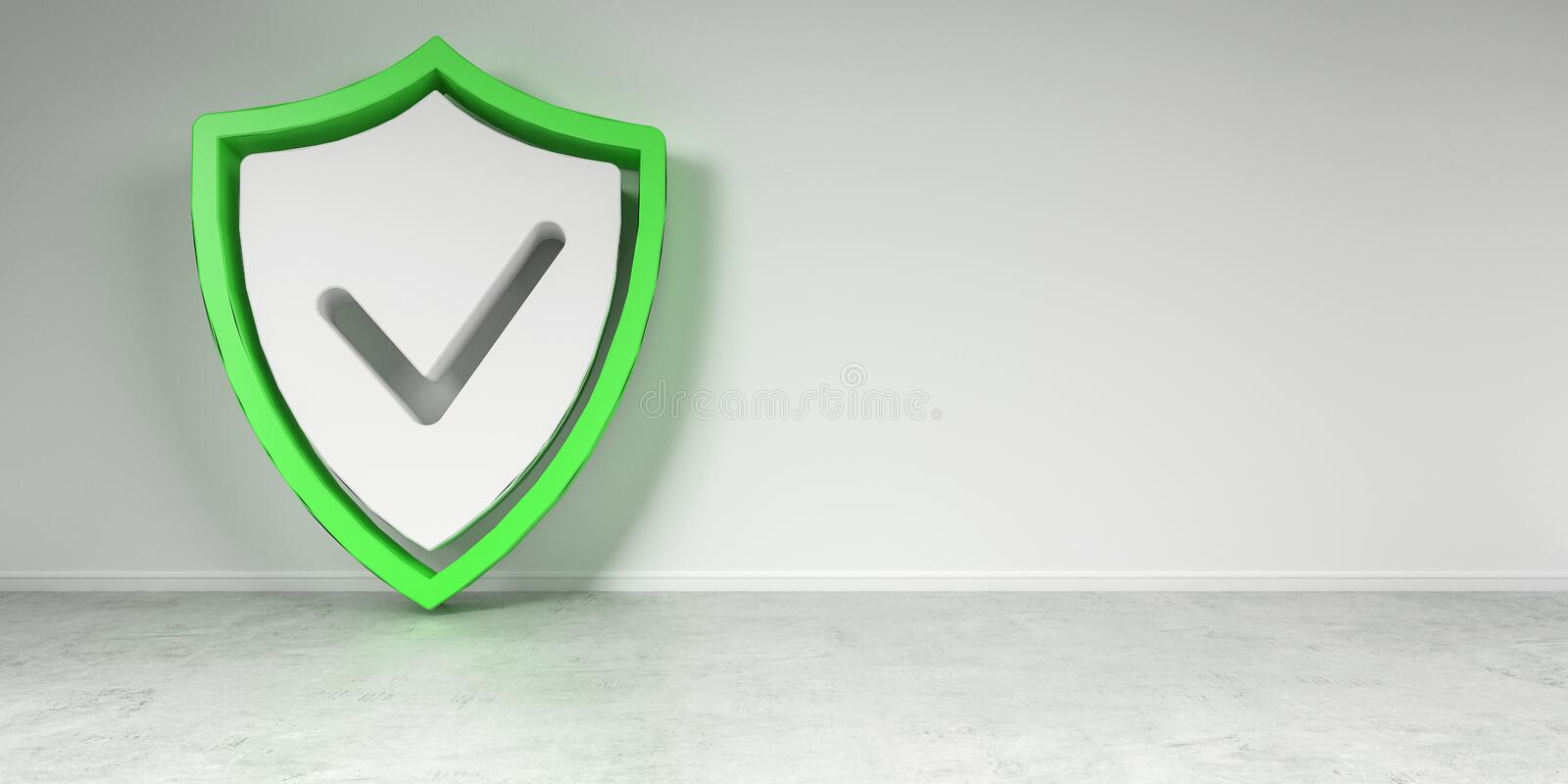 Smarthome shield security interface 3D rendering vector illustration