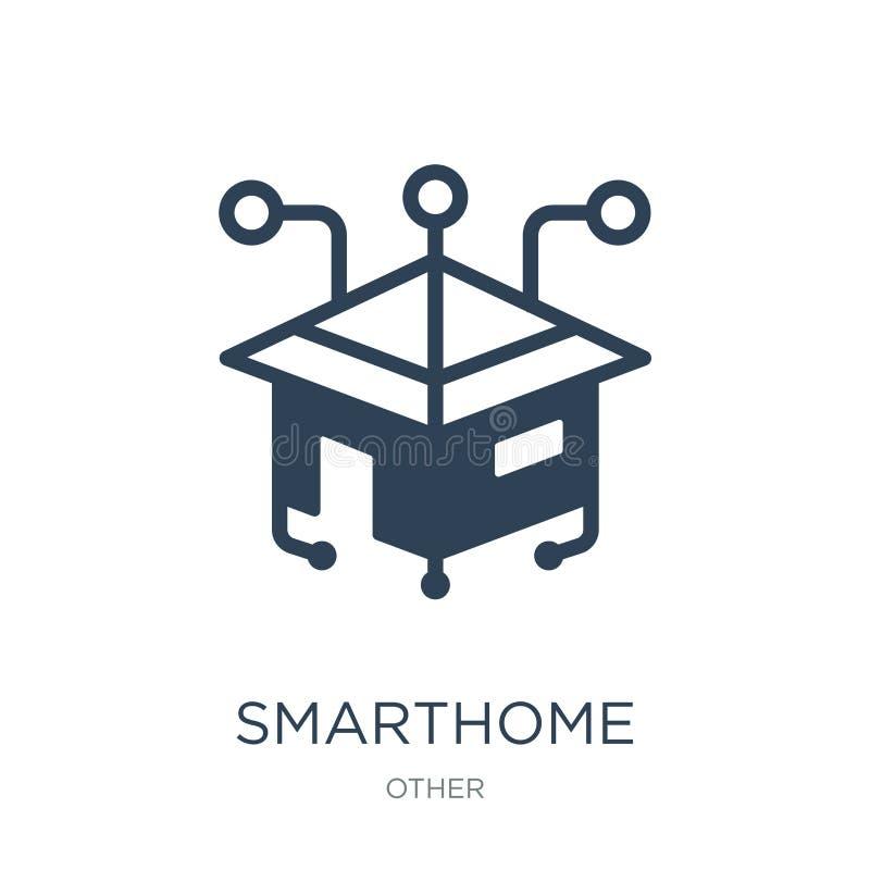 smarthomesymbol i moderiktig designstil smarthomesymbol som isoleras på vit bakgrund enkel och modern lägenhet för smarthomevekto royaltyfri illustrationer