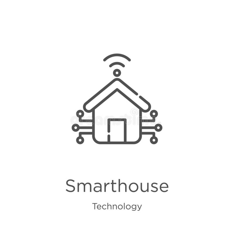 smarthouse icon vector from technology collection. Thin line smarthouse outline icon vector illustration. Outline, thin line stock illustration