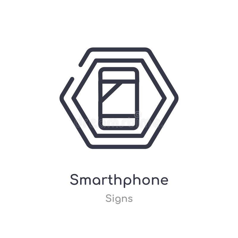 smarthphoneöversiktssymbol isolerad linje vektorillustration fr?n teckensamling redigerbar tunn slaglängdsmarthphonesymbol på vit stock illustrationer