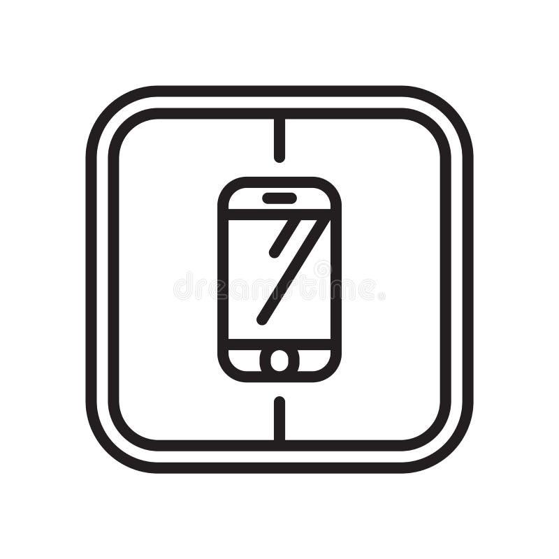 Smarthphone象在白色背景和标志隔绝的传染媒介标志, Smarthphone商标概念 皇族释放例证