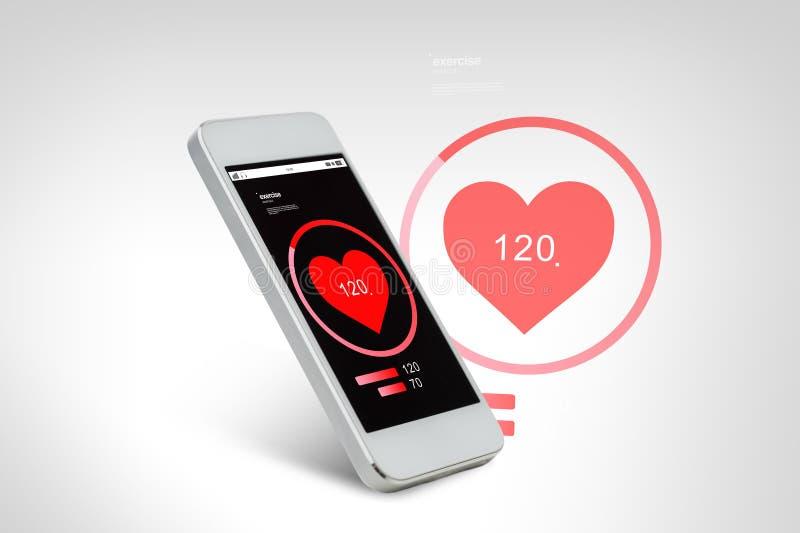 Smarthphone bianco con lo schermo rosso dell'icona del cuore illustrazione vettoriale