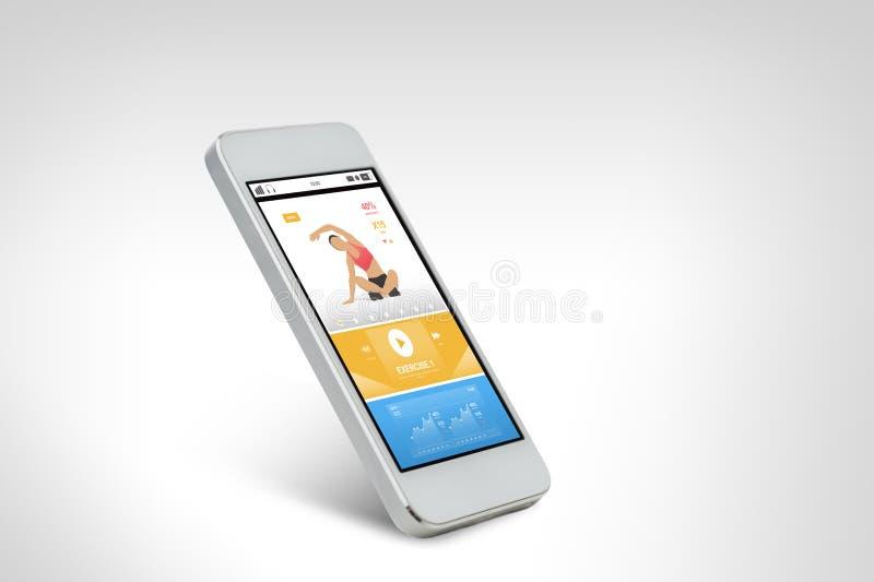 Smarthphone com aplicação dos esportes na tela ilustração do vetor