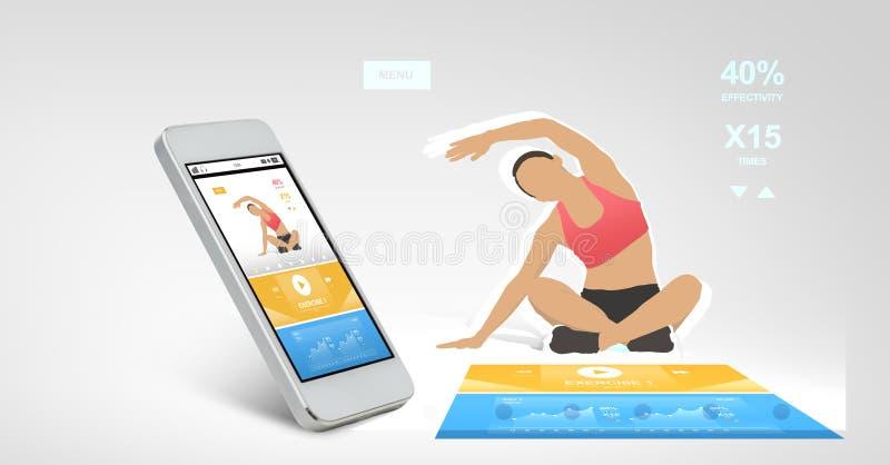 Smarthphone con l'applicazione di sport sullo schermo illustrazione vettoriale