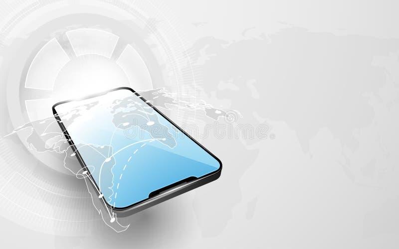 Smarthphone med bakgrund för hög tech för världskartaanslutning och för abstrakt begreppteknologi digital royaltyfri illustrationer