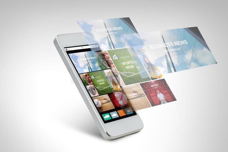 Smarthphone med nyheternawebbsidan på skärmen stock illustrationer