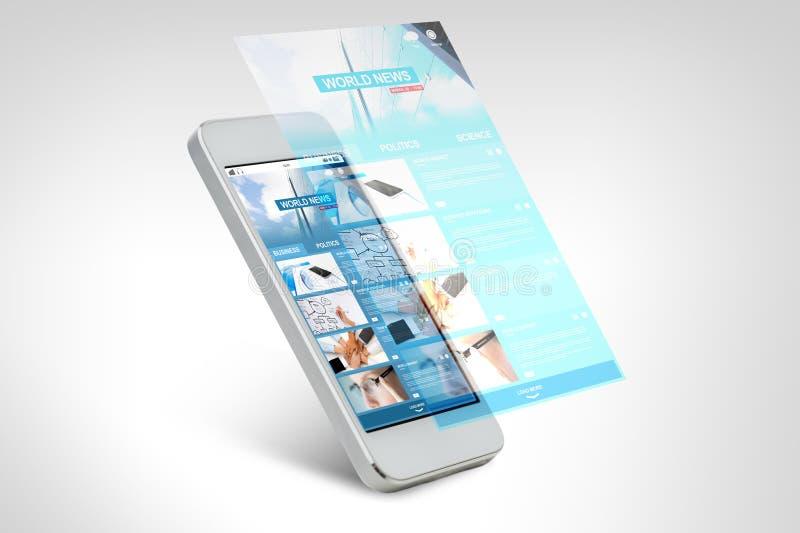Smarthphone med världsnyheterwebbsidan på skärmen royaltyfri illustrationer