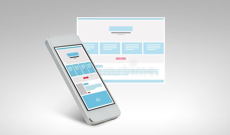 Smarthphone med webbsidadesign på skärmen stock illustrationer