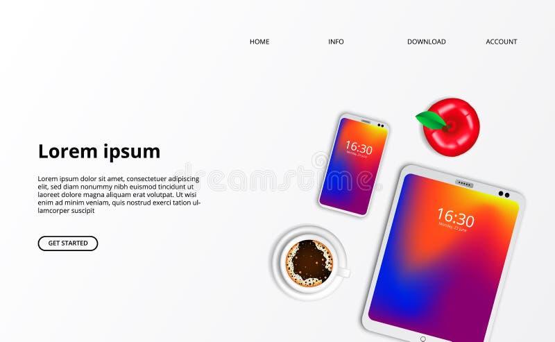 Smarthphone minnestavlagrej med bästa sikt för kaffe med vit bakgrund stock illustrationer