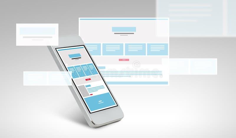 Smarthphone mit Webseitendesign auf Schirm lizenzfreie abbildung