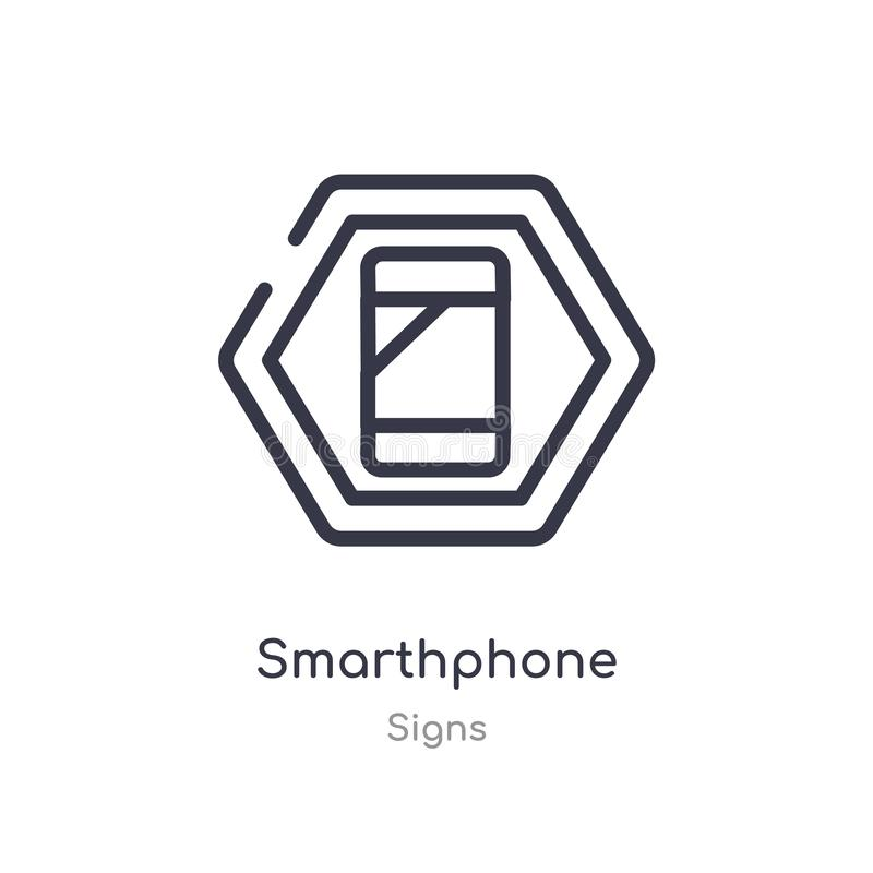 smarthphone outline icon. isolated line vector illustration from signs collection. editable thin stroke smarthphone icon on white stock illustration