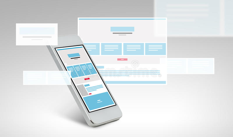 Smarthphone with web page design on screen royalty free illustration