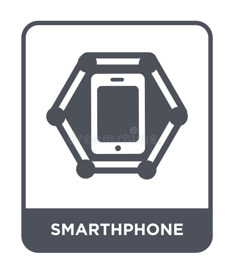 smarthphonepictogram in in ontwerpstijl smarthphonepictogram op witte achtergrond wordt geïsoleerd die eenvoudig en modern smarth royalty-vrije illustratie