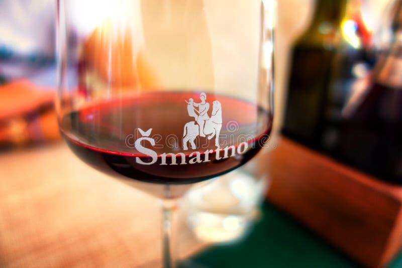 Engraved coat of Arms on Wine Glass in Smartno, Goriska Brda, Slovenia. Smartno, Slovenia - Aug 13 2018: Engraved coat of Arms on Wine Glass in Smartno, Goriska stock photos