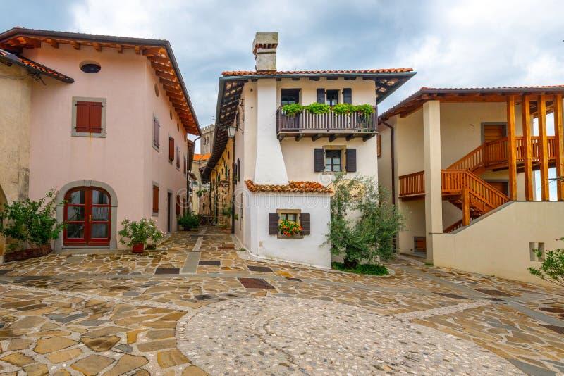Main Square in Historic medieval town of Smartno in Goriska Brda, Slovenia with narrov streets leading into the town. Smartno, Slovenia - Aug 15 2018: Main royalty free stock photography