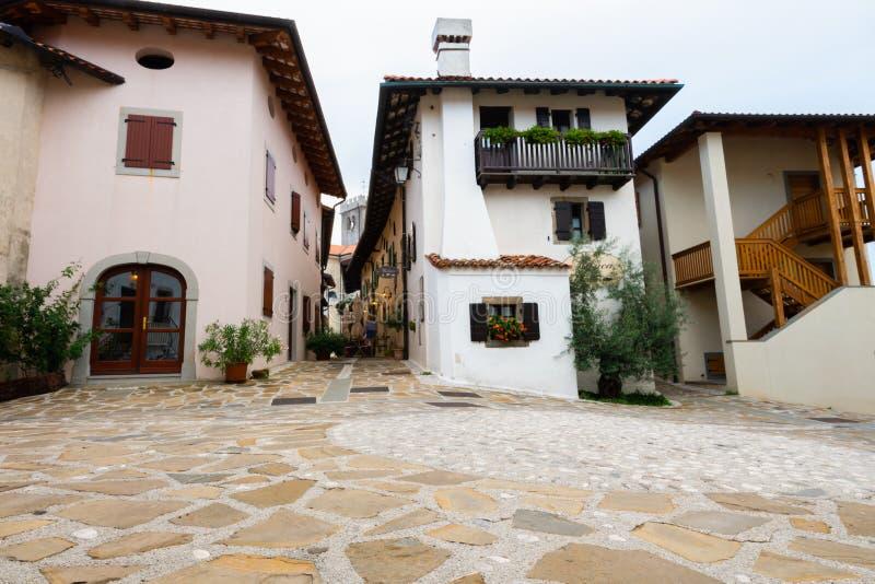 Main Square in Historic medieval town of Smartno in Goriska Brda, Slovenia with narrov streets leading into the town. Smartno, Slovenia - Aug 15 2018: Main stock photo