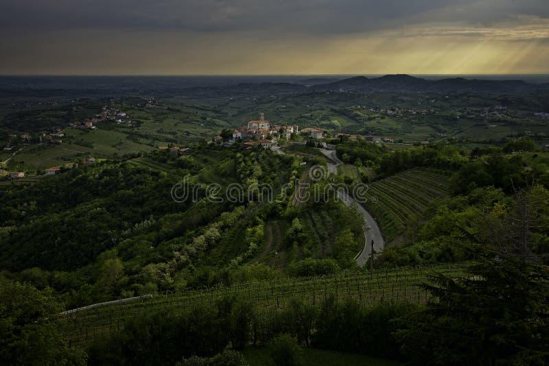 Smartno Village in Goriska Brda Slovenia. At sunset stock photo