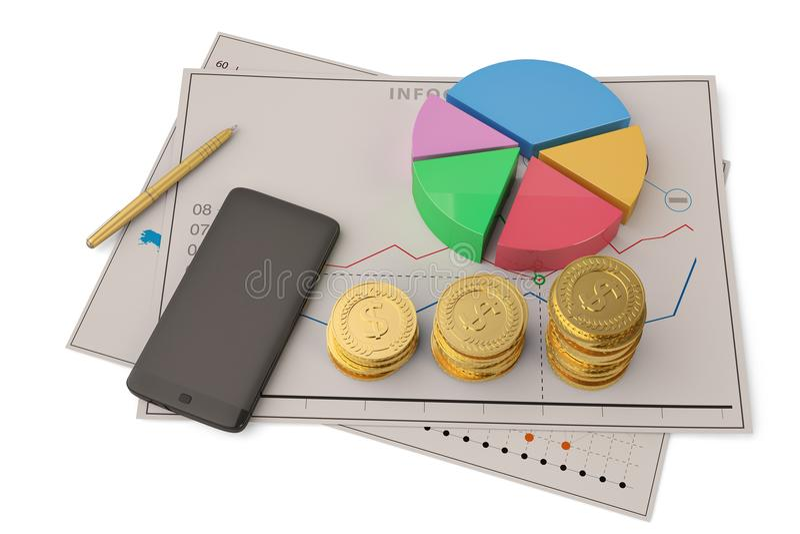 Smartpho financeiro do écran sensível da carta de torta do gráfico de negócio do negócio imagens de stock royalty free