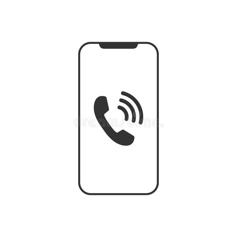 Smartphone图标 手机标志 流动小配件 平的设计 也corel凹道例证向量 库存例证