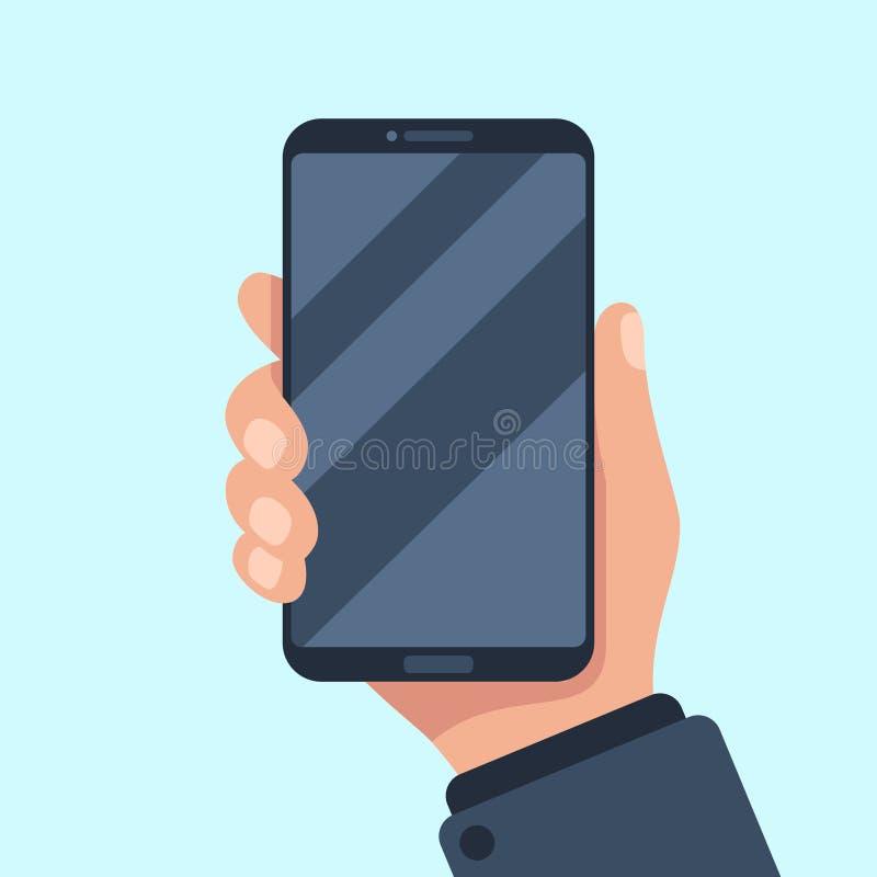 Smartphone在手中 举行在商人手上的手机 在胳膊模板的巧妙的手机平当前的app的 向量例证