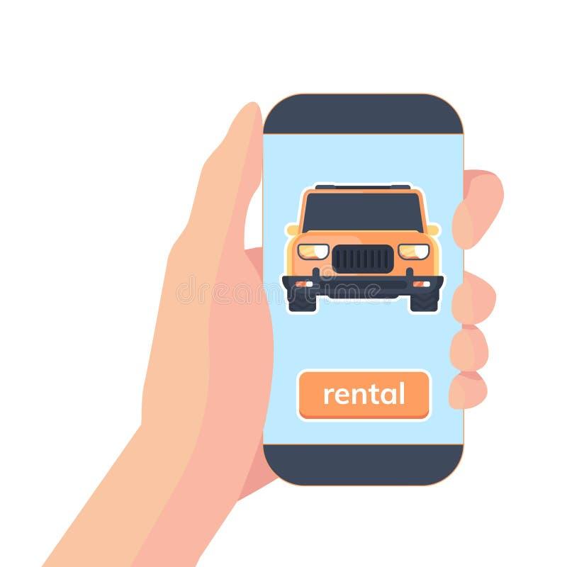 Smartphone à disposição com app para o serviço alugado em linha do carsharing Carro de registro Ilustração lisa do vetor ilustração stock