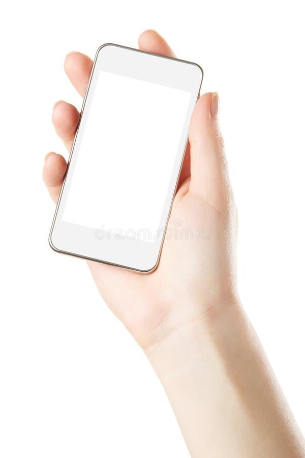Smartphone à disposition avec l'écran vide image libre de droits
